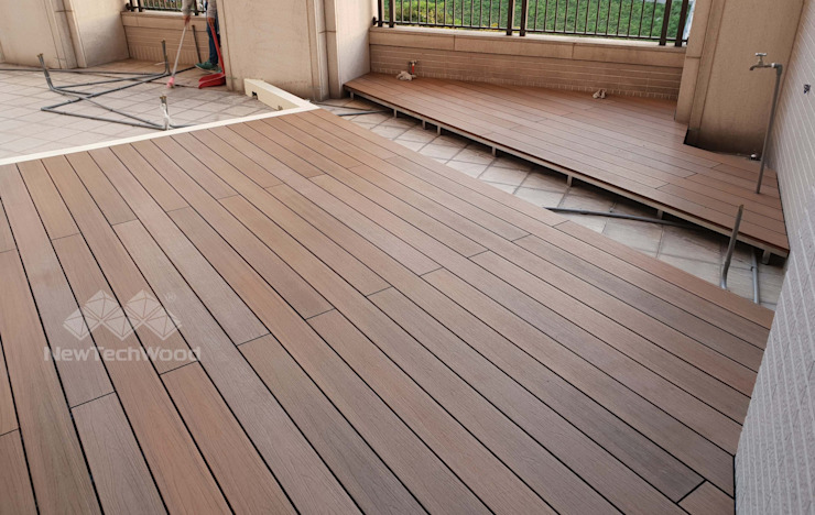 新竹─居家露台斜角式平台 新綠境實業有限公司 露臺 塑木複合材料 Wood effect