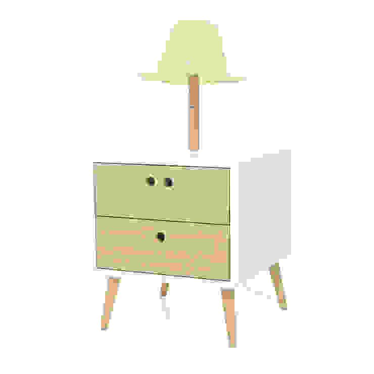 NEL bedside table with lamp -Standard por DAM Campestre Madeira Acabamento em madeira