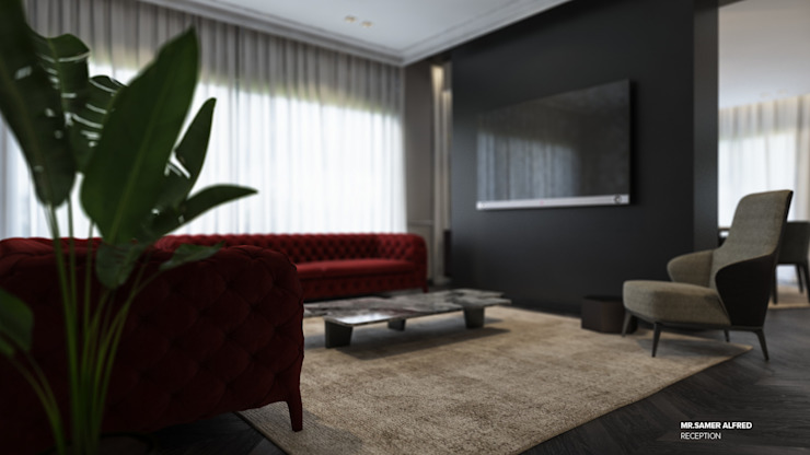 Reception Modern living room by ICONIC DESIGN STUDIO Modern