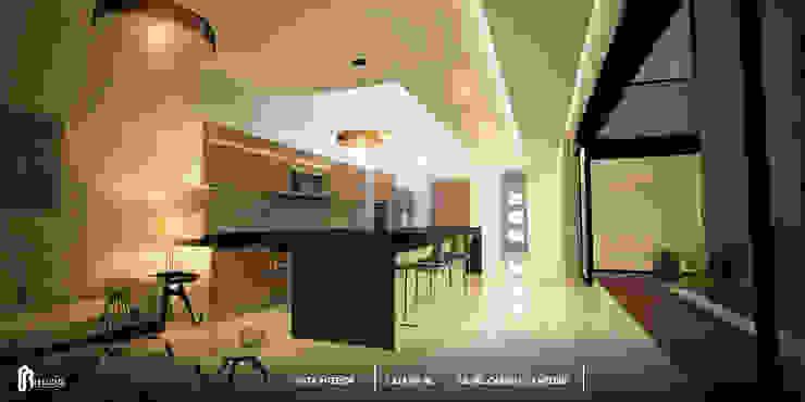 Cocina eje principal de la casa. de BLDG Arquitectos Moderno Cuarzo