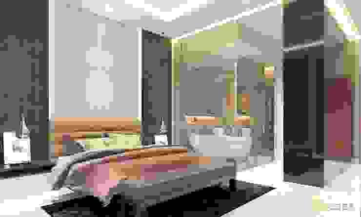Nội thất nhà phố cityland gò vấp Phòng ngủ phong cách châu Á bởi công ty thiết kế nội thất CEEB tại cityland Gò Vấp Châu Á