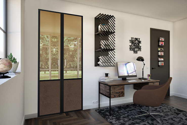 Kazed Study/officeCupboards & shelving Fake Leather Brown