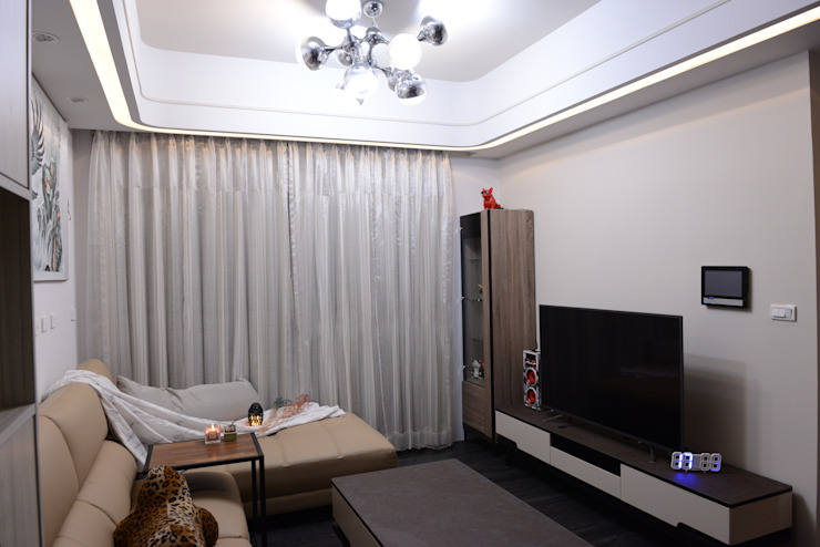 時尚單身公寓|紳士的品格 台中室內設計裝修|心之所向設計美學工作室 客廳電視櫃