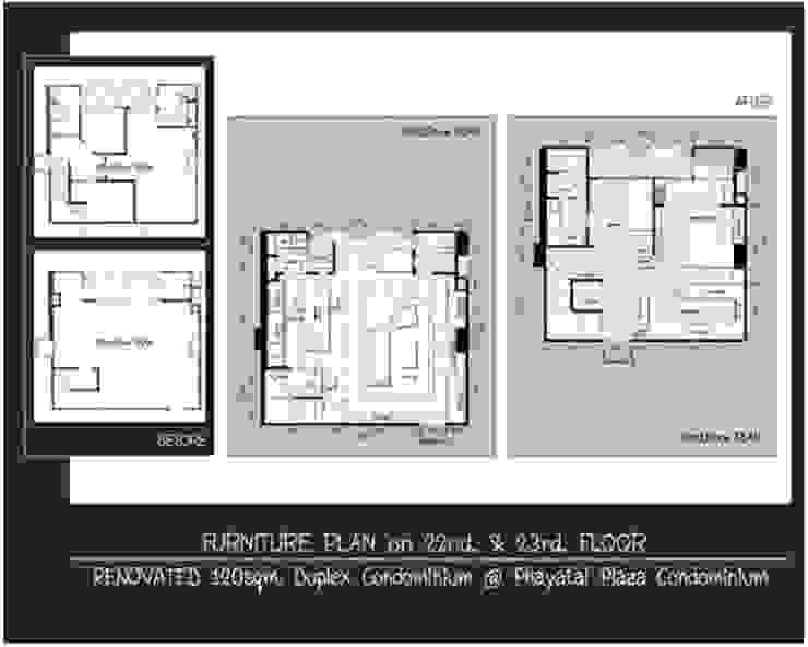 Phayatai Plaza Condominium Modern Bedroom by UpMedio Design Modern