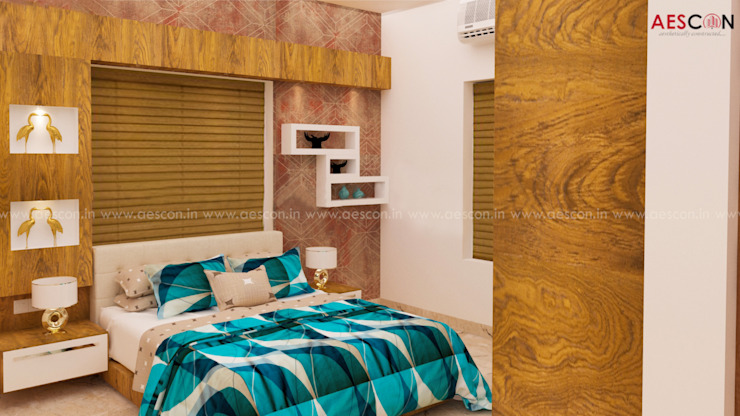 Top Builders in Kochi Asian style bedroom by Aescon Builders and Architects Asian