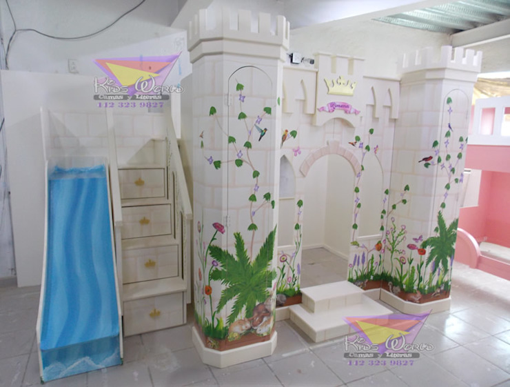 Precioso castillo litera con cascada de camas y literas infantiles kids world Clásico Derivados de madera Transparente