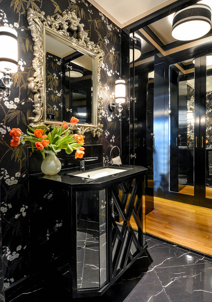 Chinoiserie Powder Room by Design Intervention Asian style bathroom by Design Intervention Asian