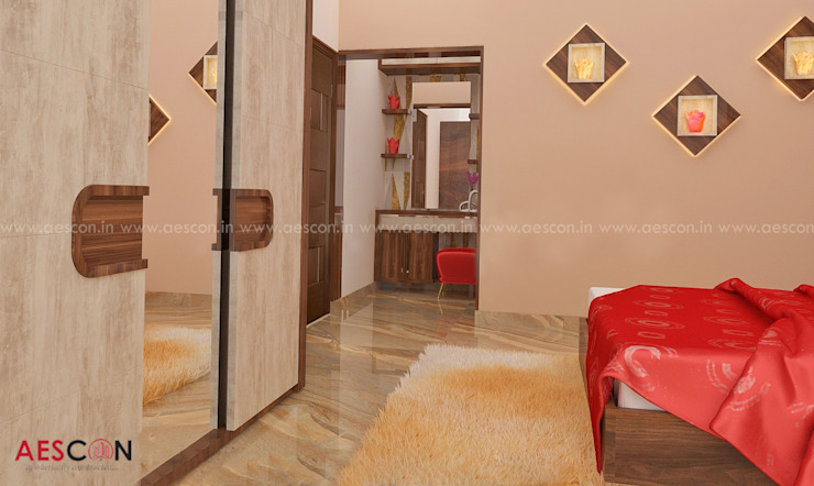 Top Construction Company in Kottayam Asian style bedroom by Aescon Builders and Architects Asian