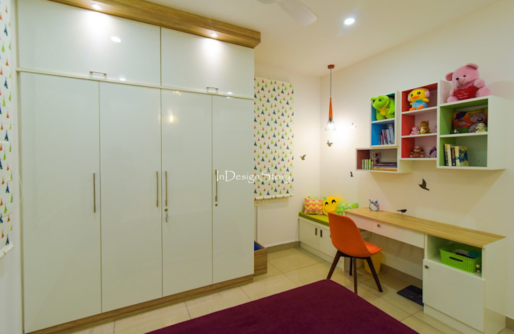 Kids room with Study table by InDesign Story Scandinavian Plywood