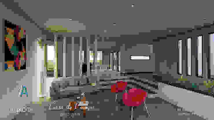 Salon y cocina Salas modernas de ANKORA ARQUITECTOS Moderno Concreto
