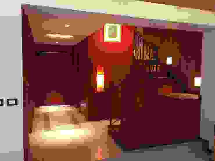 espatium arquitectos sc Minimalist corridor, hallway & stairs Ceramic Red