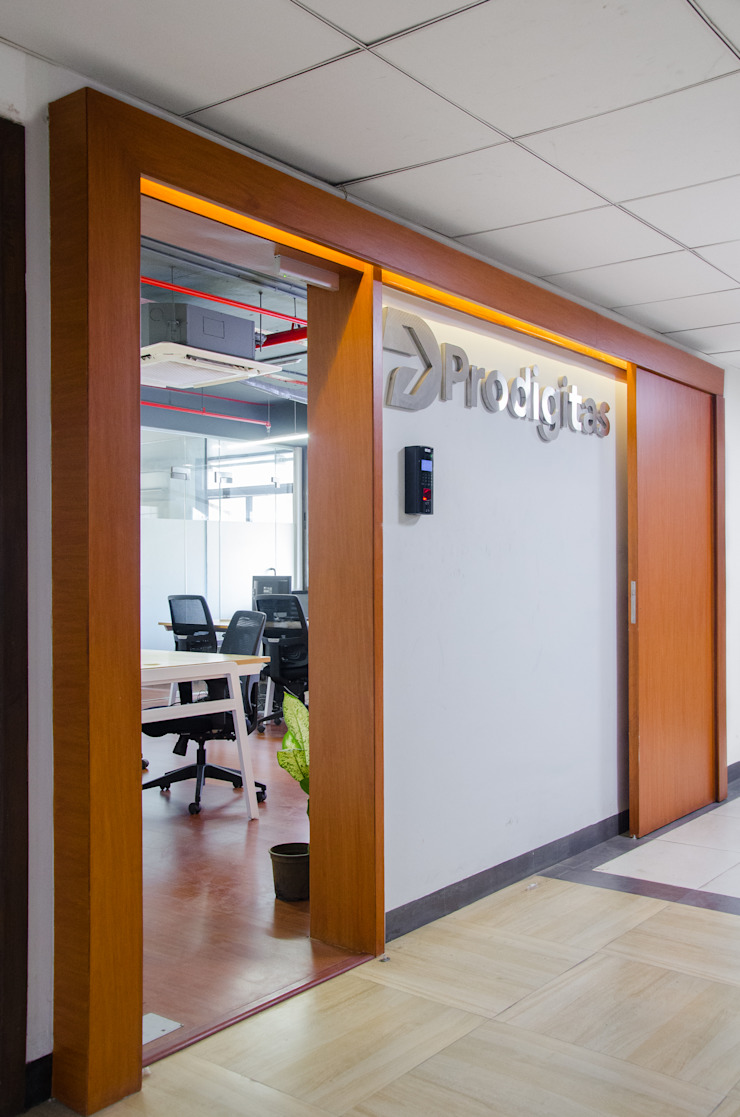 Entrance door and signage by M+P Architects Collaborative Modern