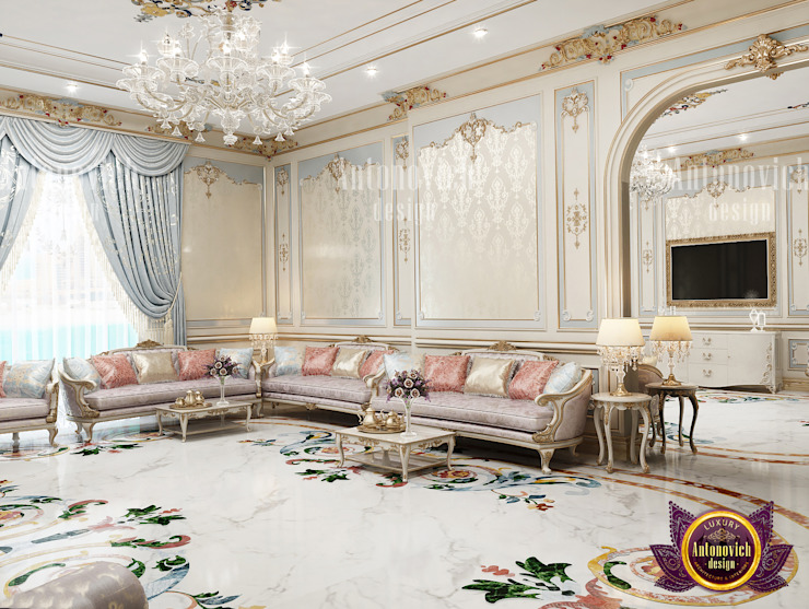 Living Room Interior With A Modern and Classical Theme by Luxury Antonovich Design