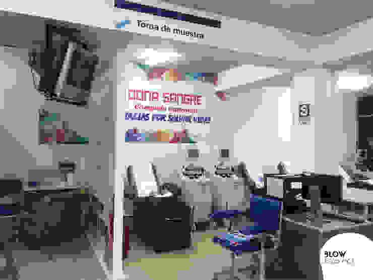Hospital Rebagliati - Sala de donación de sangre Paredes y pisos de estilo moderno de Blow Deco Pics Moderno
