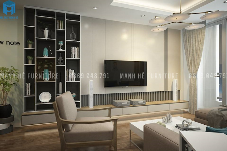 Salas de estar modernas por Công ty TNHH Nội Thất Mạnh Hệ Moderno Pedra