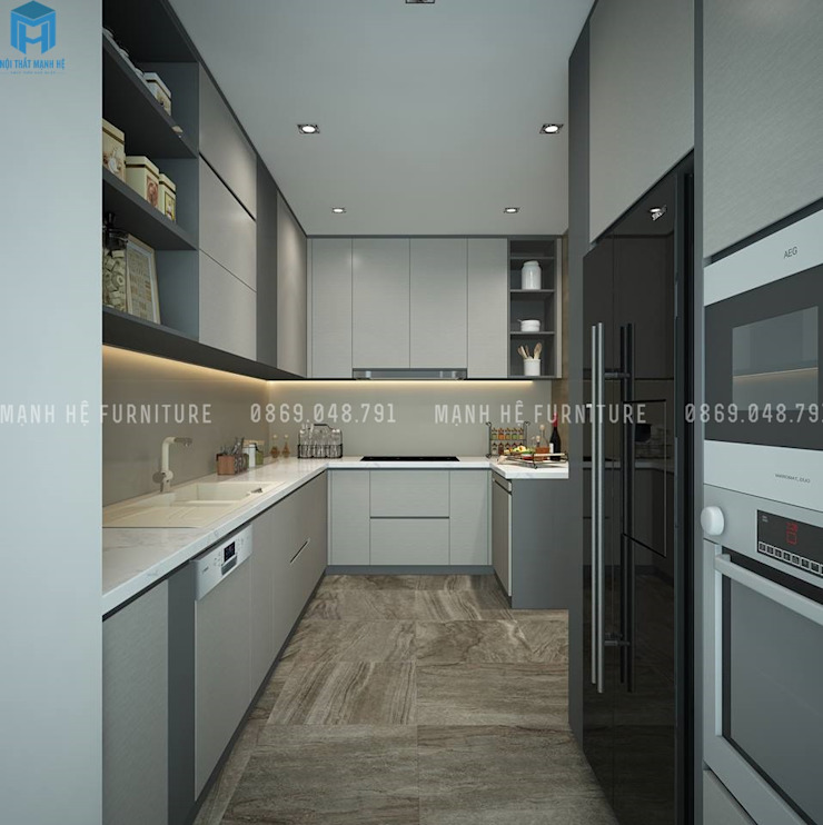 Cozinhas modernas por Công ty TNHH Nội Thất Mạnh Hệ Moderno Metal