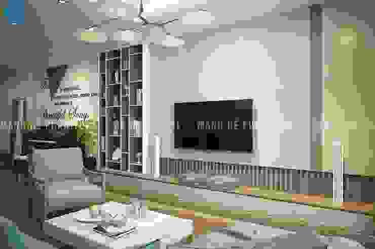 Salas de estar modernas por Công ty TNHH Nội Thất Mạnh Hệ Moderno Madeira maciça Multicolor