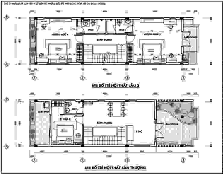 Thổi Sinh Khí Vào Thiết Kế Nội Thất Nhà 5 Tầng Đẹp Có Gara bởi Công ty Thiết Kế Xây Dựng Song Phát Châu Á