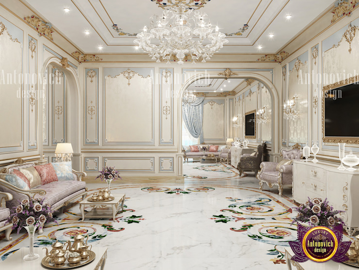 Luxuriously Unique Living Room by Luxury Antonovich Design