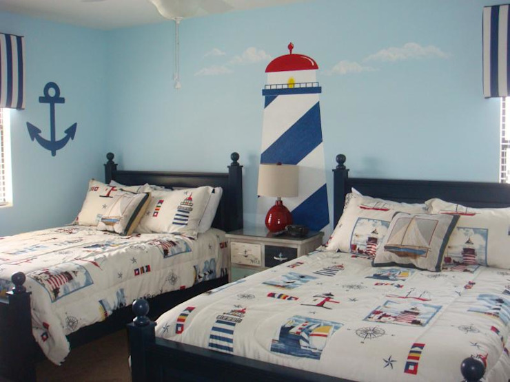 blue colour kids room light house theme Colonial style bedroom by decormyplace Colonial Plywood