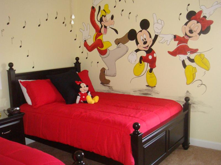 Beige and red kids room Modern Bedroom by decormyplace Modern Plywood