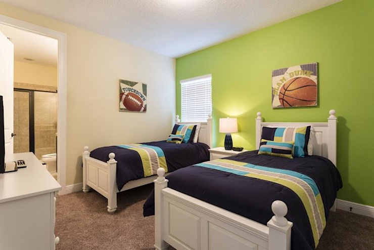 green colour kids room Modern style bedroom by decormyplace Modern Plywood