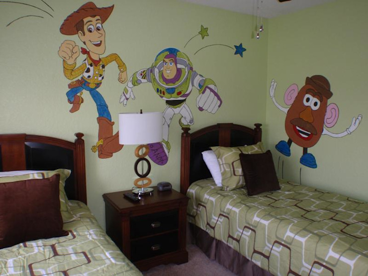 Cartoon characters in kids room Modern style bedroom by decormyplace Modern Plywood