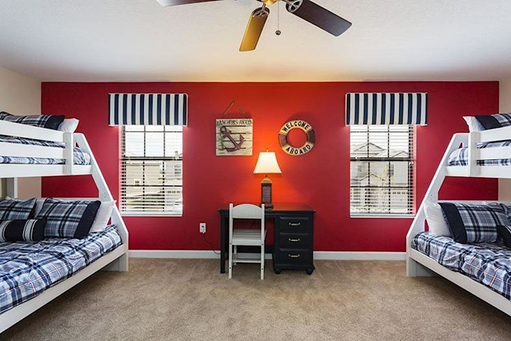 Red kids Room with Bunk bed Modern style bedroom by decormyplace Modern Plywood