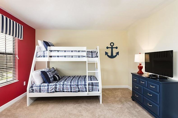 white and red colour kids room with bunk bed Modern style bedroom by decormyplace Modern Plywood