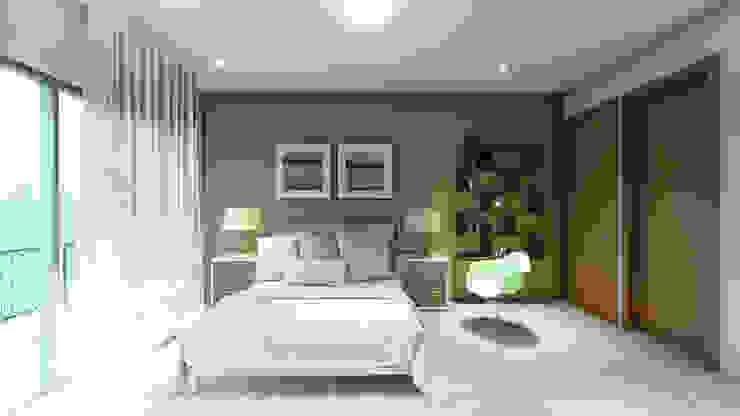 Recámara tres AXS Arquitectos Dormitorios modernos Concreto Verde
