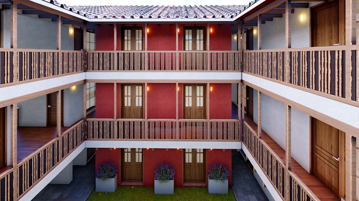 FRANCO CACERES / Arquitectos & Asociados 殖民地風玄關、階梯與走廊