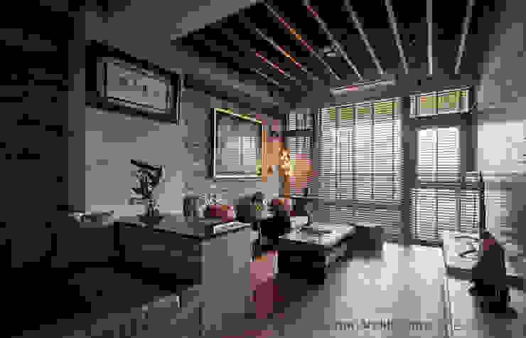 客廳區 Hi+Design/Interior.Architecture. 寰邑空間設計 客廳 磚塊 Wood effect