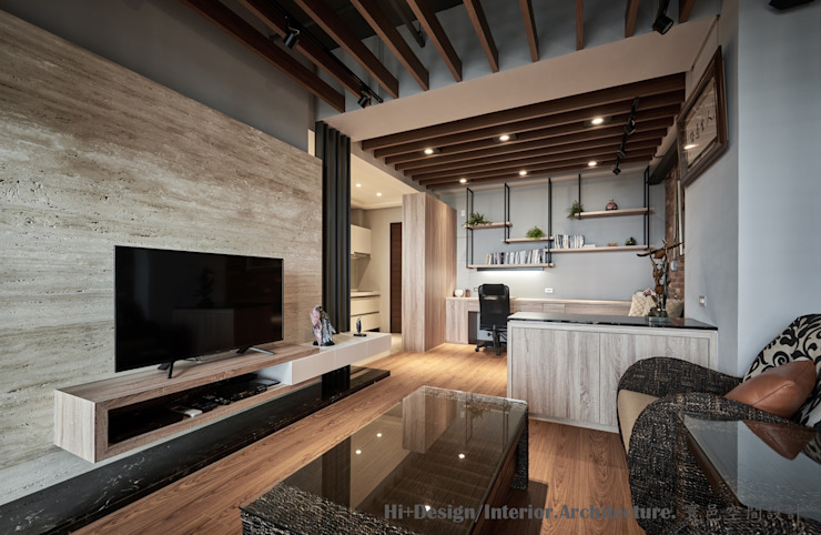 室內全景 Hi+Design/Interior.Architecture. 寰邑空間設計 客廳 木頭 Wood effect