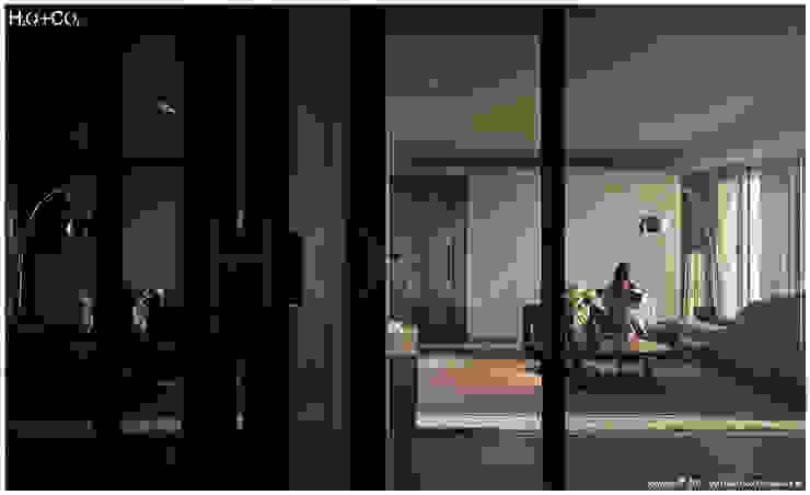 光合‧景宴 现代客厅設計點子、靈感 & 圖片 根據 光合作用設計有限公司 現代風