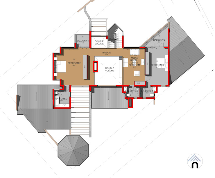 FIRST FLOOR PLAN:  Houses by Nuclei Lifestyle Design,