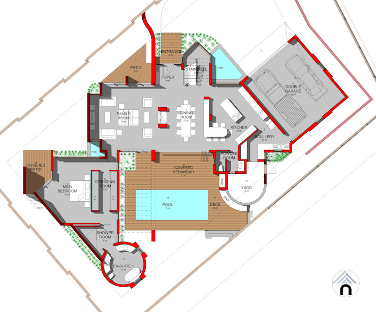 GROUND FLOOR PLAN:  Houses by Nuclei Lifestyle Design,