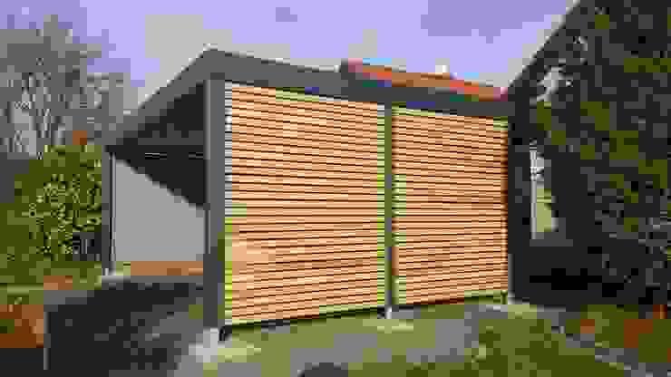 Metallcarport mit Holz sib.Lärche von Carport-Schmiede GmbH & Co. KG - Hersteller für Metallcarports und Stahlcarports auf Maß Modern