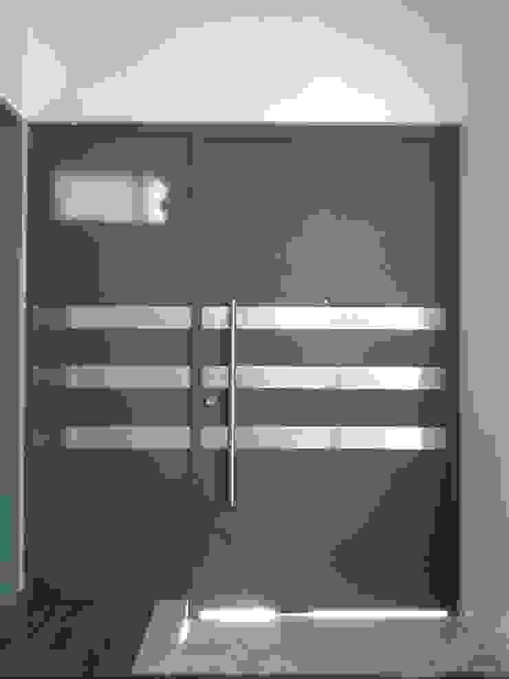 Puerta Principal con Acero inoxidable de Herrería CHS Moderno