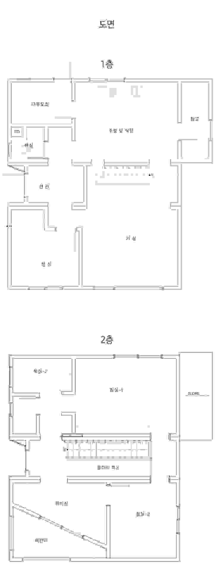 순환구조가 돋보이는 모듈화주택_도면 by 공간제작소(주) 모던 우드 우드 그레인