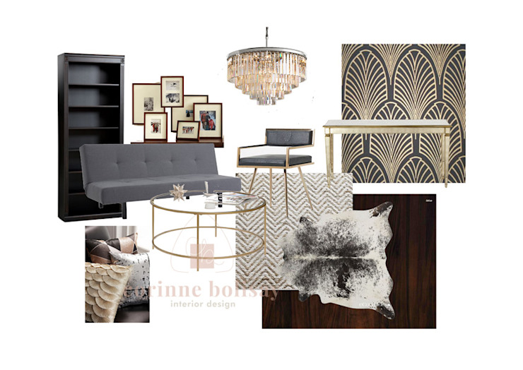 Mood board for Art Deco-inspired Living Room: modern  by Interiors by Corinne Bolisay, Modern