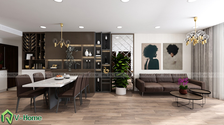 Nội thất phòng khách: hiện đại  by Công ty CP tư vấn thiết kế và xây dựng V-Home, Hiện đại