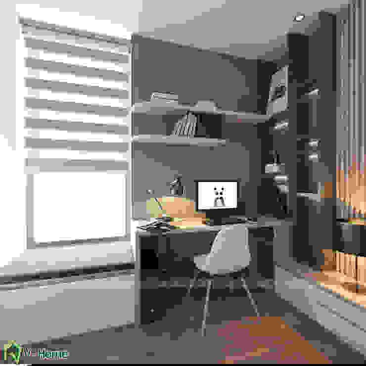 Bàn làm việc phòng ngủ: hiện đại  by Công ty CP tư vấn thiết kế và xây dựng V-Home, Hiện đại