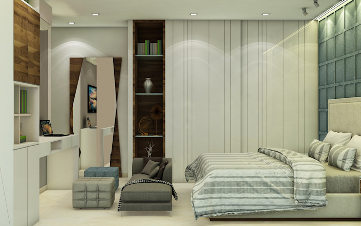 3BHK @ OBEROI ESQUIRE Modern style bedroom by Midas Dezign Modern