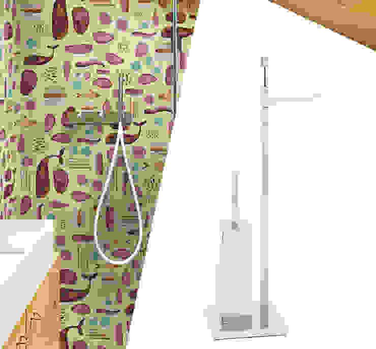 Porta scopino con porta rotolo - Piantana da bagno moderna Idearredobagno.it Bagno minimalista Rame / Bronzo / Ottone Metallizzato/Argento
