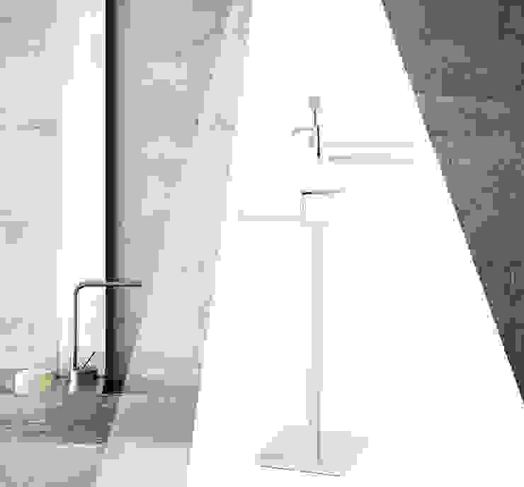 Piantana da bagno porta carta, asciugamani e dispenser per sapone Idearredobagno.it Bagno minimalista Rame / Bronzo / Ottone Metallizzato/Argento