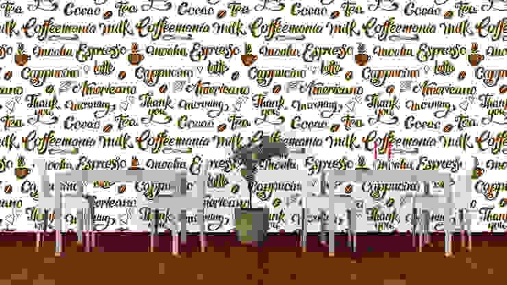 Papel tapiz personalizado en cafetería. Paredes y pisos de estilo moderno de Kromart Wallcoverings - Papel Tapiz Personalizado Moderno