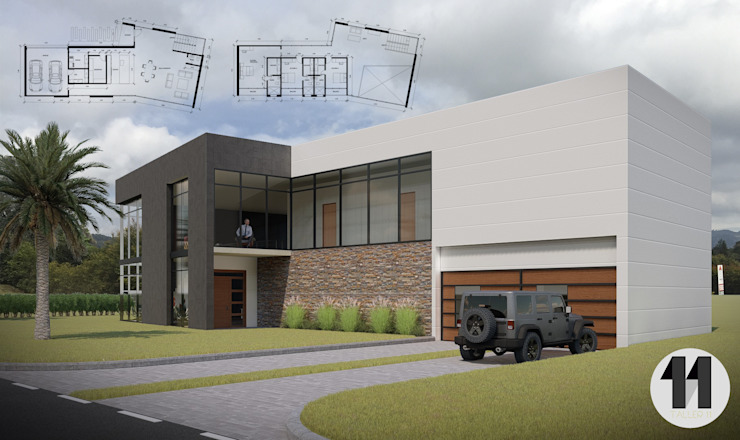 Imagen Principal + Planimetría Casas modernas de Taller Once Arquitectura Moderno