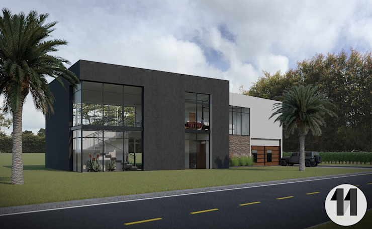 Render Exterior de Taller Once Arquitectura Moderno