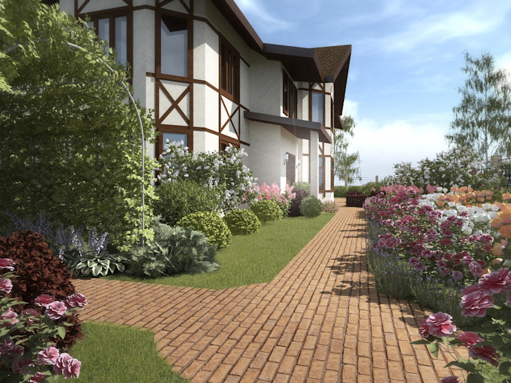 Террасный сад с водопадом. Сад в эклектичном стиле от ООО «Арт Грин Дизайн» Эклектичный
