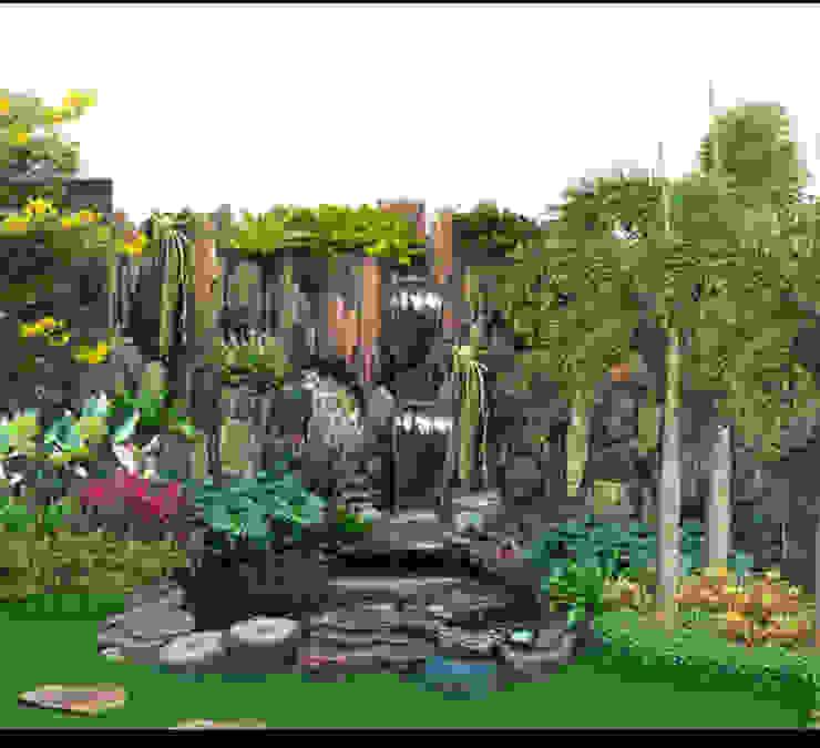 Tebing Kolam dan Taman Dinding & Lantai Gaya Klasik Oleh Tukang Taman Surabaya - Tianggadha-art Klasik Batu Bata